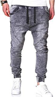 Mens Slim Fit Elastic Joggers Pants Fashion Basic Jeans Trousers