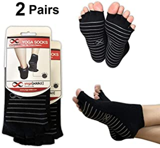 Choisissez Vos Couleurs de Contention /à Orteils Ouvertes YogaAddict Lot de 2/Paires de Chaussettes de Yoga Antid/érapantes
