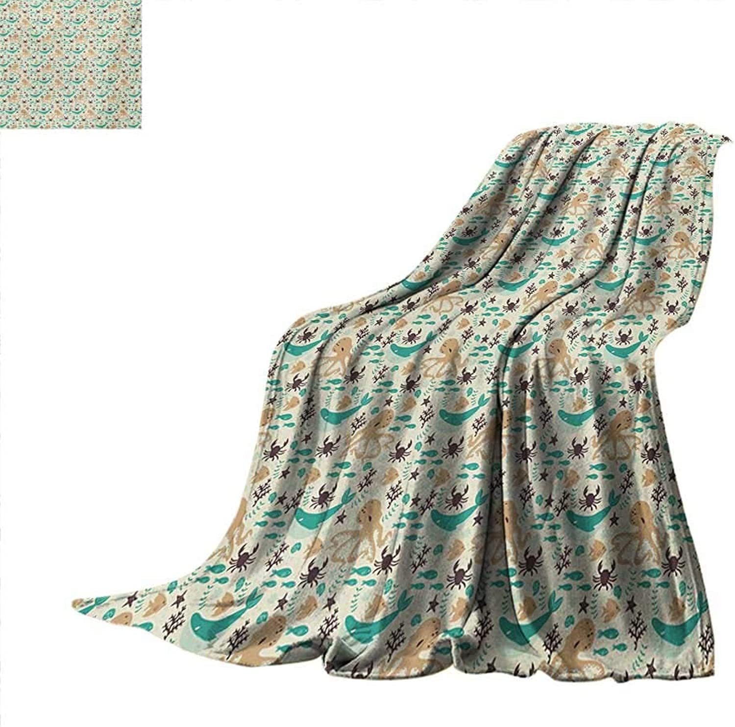 OctopusFlannel Single Student blanketPattern with Octopus Whale Fish and Crab Cartoon Sea ElementsStudent Blanket 50 x30  Sand and Dark Brown Turquoise