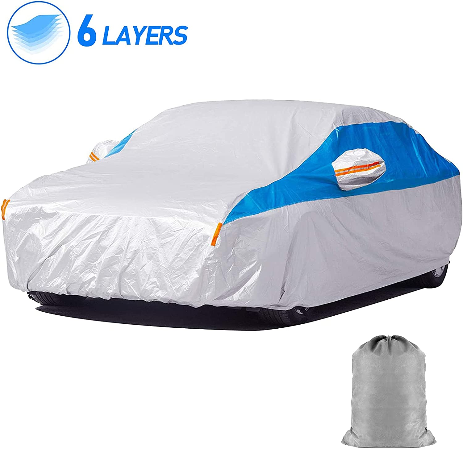 HIRALIY Cheap mail order OFFicial shopping 6 Layers Waterproof Car Cover Fit to 193 178 inch All W