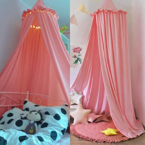 Mosquito Net Bed Canopy Play Tent Bedding for Kids Playing Reading with Children Round Lace Dome Netting Curtains Baby Boys and Girls Games House (Pink)