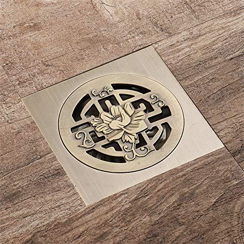 Antique Brass Floor Drain,Shower Drain Hair Trap,Square Drainage System,Shower Drain For Bathroom And Garden, Detachable Anti-Clogging Design