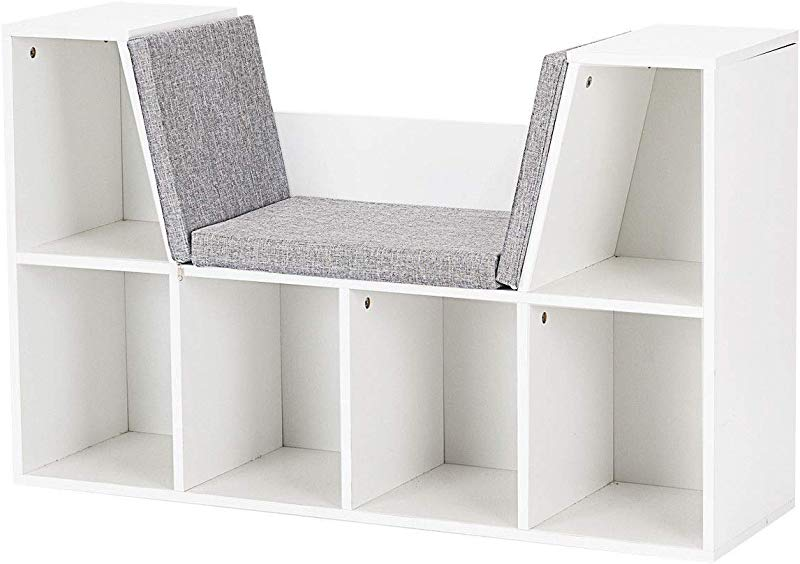 Globe House Products GHP 40 5 X12 X25 White Particle Board Kids Wooden Storage Bookcase W Reading Nook