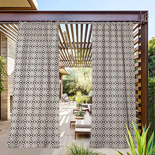 FOEYESEE Porch Curtains Outdoor Geometrical Lines Stripes Plus Like Image with Light Grey Backdrop Art Print Black and White Summer Heat Insulating 84x96 Inch