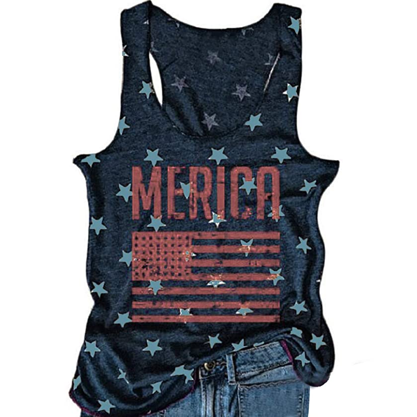 Toponly Fourth of July Women Sports Elastic Tank Tops Star Letter Patriotic Sleeveless American Flag Loose T Shirt Independence Day Tee Vest Blouse
