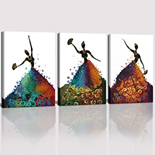 CANVASZON Wall Art for Living Room Bathroom Framed African American Black Art Dancing Black Women in Dress Abstract Wall Art Pop Painting 3 Panels for Home Decorations