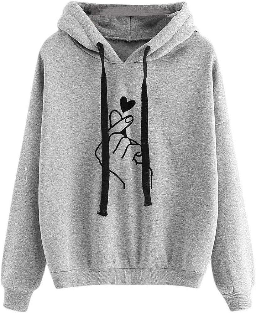 Eduavar Hoodies for Women, Womens Teen Girls Cute Heart Print Long Sleeve Casual Comfort Pullover Hoodie Sweatshirt Tops