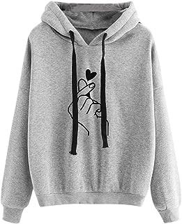 Womens Finger Heart Printed Sweatshirt,Womens Long Sleeve Hoodie Jumper Pullover Tops Blouse