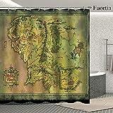 Fuortia cortina de ducha con mapa de la Tierra Media, cortina de baño, cortina de baño, cortina de fantasía clásico de tela para baño, juego de cortinas mágicas para decoración del hogar, fondo...