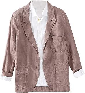 Insun Men's Linen Blazer Casual Loose Fit Two-Button Sport Coat Jacket