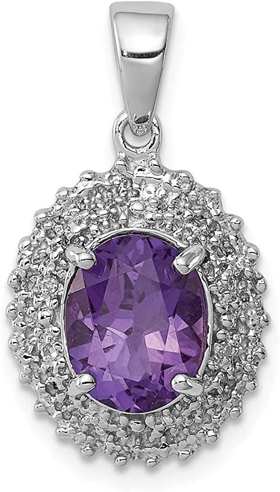 Charm Pendant White Soldering Limited Special Price Sterling Silver Diamond Oval Amethyst Purple