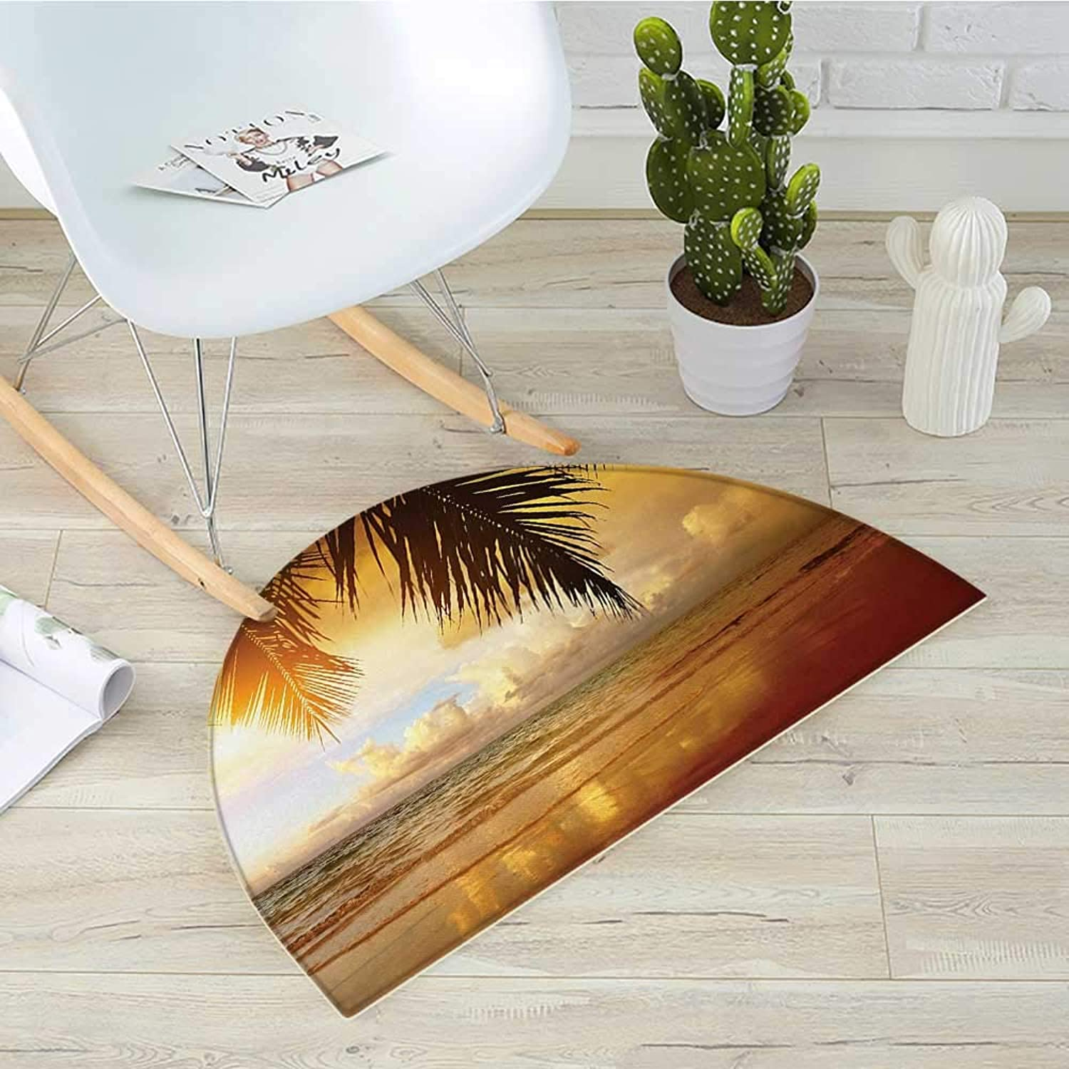 Ocean Semicircle Doormat Sunset on The Beach of Caribbean Sea Waves Coast with Palm Tree Halfmoon doormats H 39.3  xD 59  Yellow Dark orange Baby bluee
