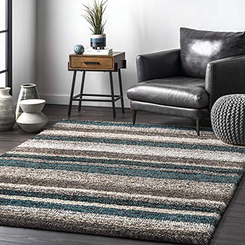 nuLOOM Classie Hand Tufted Shag Area Rug, 8' Square, Blue Multi
