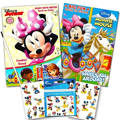 Disney Minnie Mouse Paint With Water Super Set Kids Toddlers -- Mess Free Book with Paint Brush, Coloring Book and Stickers!