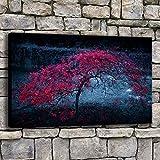 wZUN Lienzo Pintura Sala de Estar Arte Pared Rosa árbol Solitario en la Oscuridad Cartel de la Naturaleza decoración del hogar impresión Paisaje Imagen 50x70 cm