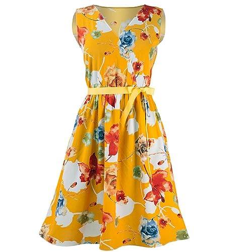8295d80c8bf2 Womens Sleeveless Floral Printed Dress, Kanpola Ladies Casual V-Neck  Bandage Waist Belt Ruched