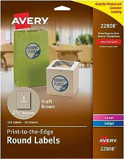 ملصقات Avery دائرية لطابعات ليزر وطابعات نافثة للحبر، 2.5 بوصة، 225 ملصق بني كرافت (22808)