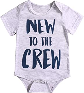TUEMOS Newborn Baby Boy Girl Clothes Funny Letter Bodysuit Romper Outfits
