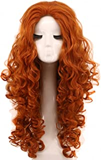 Yuehong Long Curly Red Wig Anime Wigs Halloween Costume Party Heat Resistant Cosplay Hair Wigs