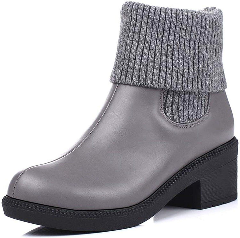 DecoStain Women's Fashion PU Yarn Dual Purpose Round Toe Block Mid-Heel Ankle-High Slip-on Boots