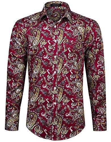 HISDERN herr casual funky Printed Shirt Fancy floral unikt mönster bomull normal passform långärmad skjorta för män