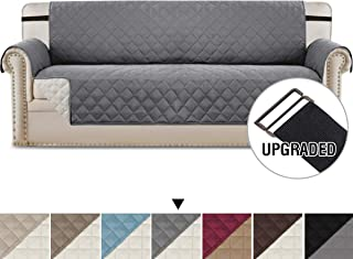 H.VERSAILTEX Reversible Sofa Slipcover Water Repellent Sofa Cover Couch Covers for Dogs Furniture Protector, 2 Inch Wide Elastic Straps Anti-Slip Couch Slipcover (Oversized Sofa: Grey/Beige)