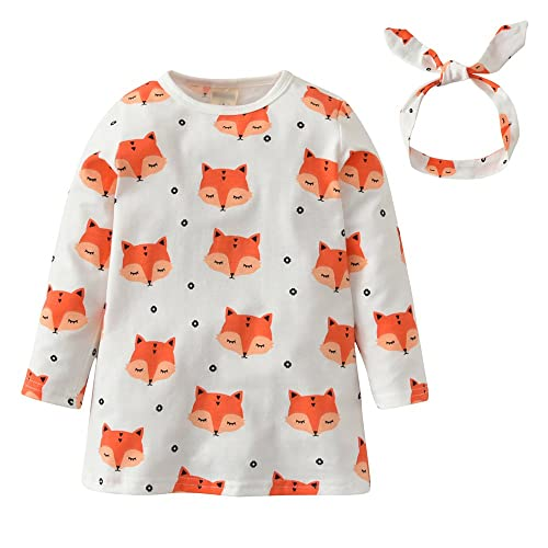 Kid Baby Girls Cartoon Fox Print Long Sleeve Princess Loose Dress Clothes Outfit