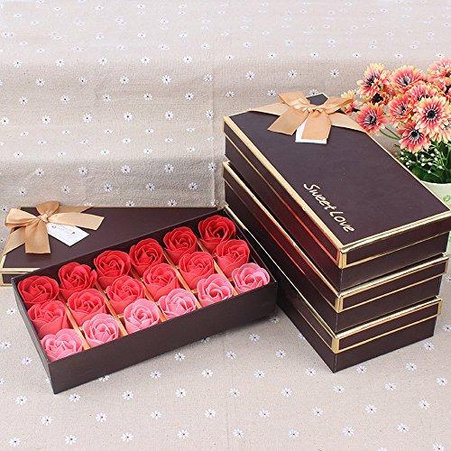 ELECTRI Salle De Bain Fleurs Savon Parfumée Fleur Bain Corps Savon Pétales De Rose en Boîte-Cadeau 18 Pièces Gradient Rose