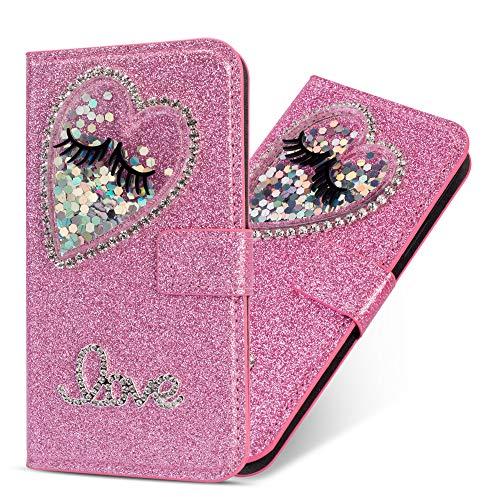 Miagon Hülle Glitzer für Samsung Galaxy A20e,Luxus Diamant Strass Herz PU Leder Handyhülle Ständer Funktion Schutzhülle Brieftasche Cover,Rosa