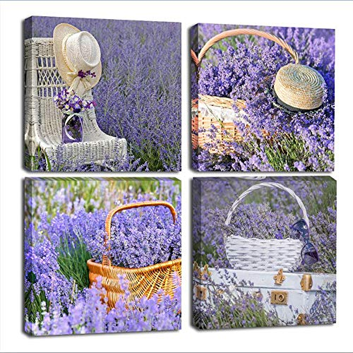 Yatehui Purple Lavender Flowers Pictures Provence Fields Landscape Paintings 4 Panel Romantic Canvas Wall Art Wall Decor Ready to Hang 12 x 12 Inches