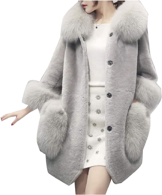 Cobama Women Stitch Faux Fur Fashion Fluffy Wedding Slim Jacket Coat