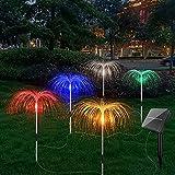 Mabor - Luci solari per esterni, 5 luci a energia solare, da giardino, con filo di rame, 8 modalità di illuminazione, luce a luce solare, fuochi d'artificio per giardino, vialetti, feste, decorazione