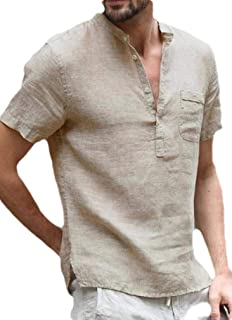 YYG Mens Solid Color V-Neck Summer Short Sleeve Cotton Linen Shirt