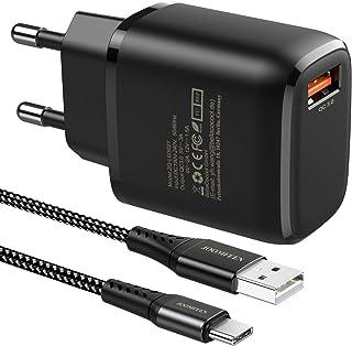 JOOMFEEN Quick Charge 3.0 Cargador USB Tipo C de Pared con Cable USB C 2M,18W QC 3.0 Cargador Móvil Carga Rapida para Sams...