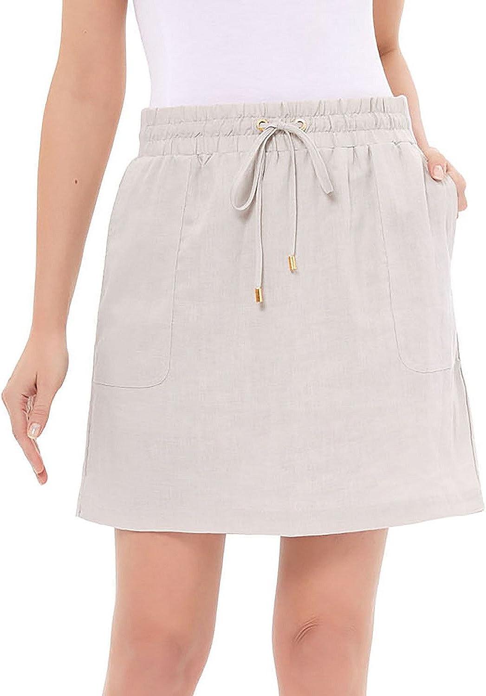 Ellen Tracy Women's Linen Skort (XXLarge, Sandstone)