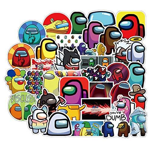 Pegatinas de vinilo Kawaii, de entre nosotros, 50 unidades, de PVC, impermeables, para bicicleta, motocicleta, coches, monopatín, portátil, monopatín, maleta, maleta.