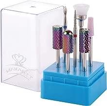 Makartt Nail Drill Bit Set B-25 Tungsten Carbide Diamond Ceramic Nail Drill Bits 7Pcs Remove Gel Polish Poly Nail Gel Drill Bit Manicure Pedicure 3/32