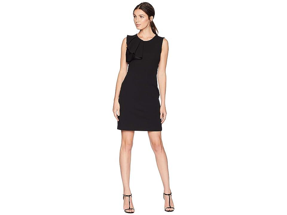 Bebe Asymmetrical Ruffle Sheath Dress (Black) Women
