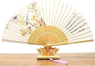 A/N Olding Ventilador La decoración del hogar Plegable del Estilo japonés Hecho a Mano Chino Fan Retro Ventilador Plegable Fan Dance (Color : Xia Lian, Size : One Size)