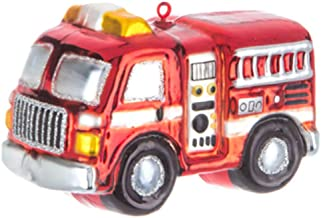 Robert Stanley Chubby Fire Engine Truck with Ladder Glass Ornament for Christmas Tree, Gifts for Firefighters First Responders
