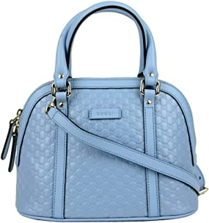 4c2253fd5 Gucci Women's Light Blue Guccissima Leather Mini Crossbody Dome Bag 449654