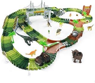 Fajiabao DinosaureCircuitVoiture Electrique Jouet - 216 Pièces Jeux PisteCircuitFlexibleLumineux Voiture Jeu Creation...