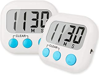 2 Pack Digital Kitchen Timer for Cooking Big Digits Loud Alarm Magnetic Backing Stand Cooking Timers for Baking White
