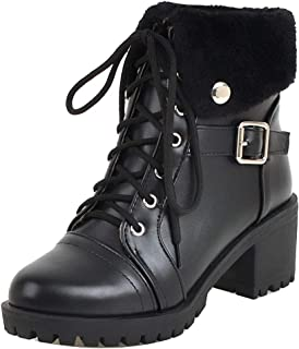 ELEEMEE Women Classic Lace Up Martin Boots Lace Up