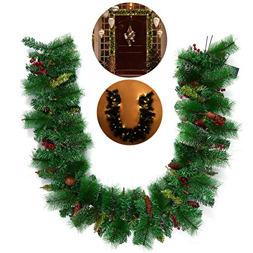 LUOEM TINKSKY Artificial Guirnalda de Pinos de Navidad con Luces LED Bayas de Cono de Pino Adornos Festivos...