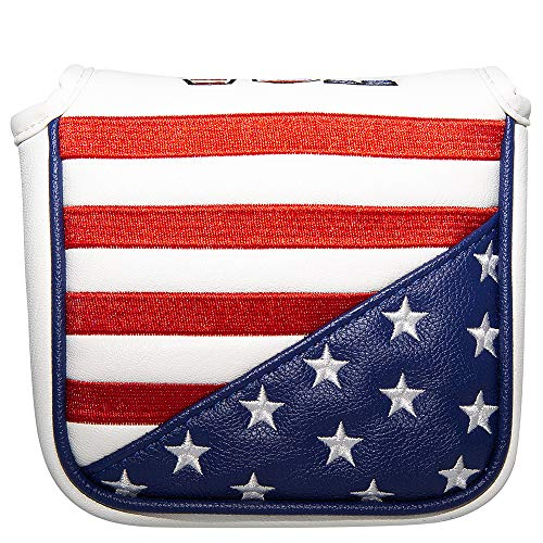 Stars and Stripes Patriotism Putter Cover Square Mallet Putter Headcover Golf Club Head Covers Protect Golf Clubs for Taylormade Spider S Scotty Cameron