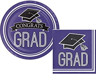 Graduation Party Supply Pack for 18 Guests - Bundle Includes Paper Dessert Plates & Napkins in School Spirit Colors (Purple)