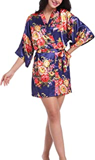 Lovacely Women's Floral Satin Short Robe Silky Dressing Gown V Neck Bride Bridesmaid Kimono Sleepwear for Wedding Party