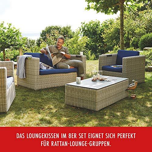 Beo Lounge Kissen Monaco | passend für Allibert Lounge-Möbel | Hellgrau | 8 Kissen | Bezug 50% Baumwolle/50% Polyester | maschinenwaschbar | mit Reißverschluss | schadstofffrei nach Öko-Tex-Standard - 6