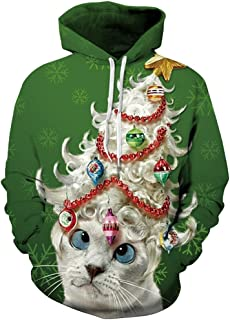 Kisscynest Unisex Ugly Christmas Hooded Sweatshirt Graphic Hoodies Pullover